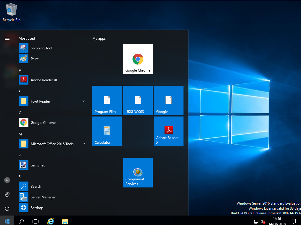 Management of Start Menu and Tiles on Windows 10 and Server 2016
