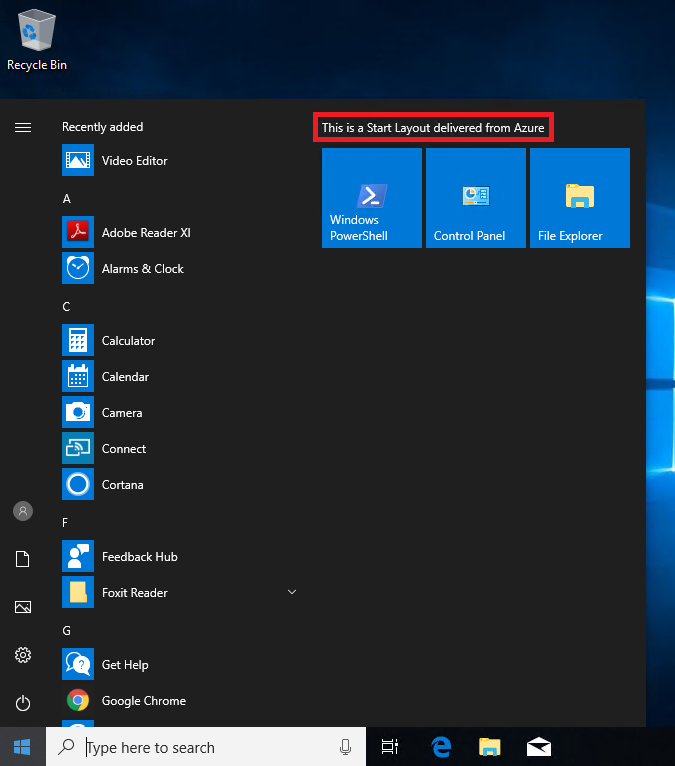 Management of Start Menu and Tiles on Windows 10 and Server